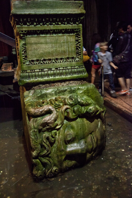 Medusa's Sideways Head Serving as the Base of a Column at the Basilica Cistern