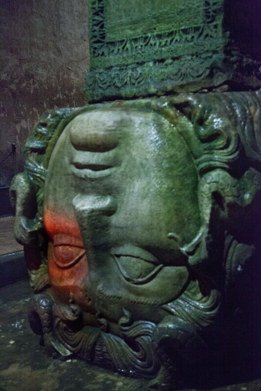 Medusa's Upside-Down Head Serving as the Base of a Column at the Basilica Cistern