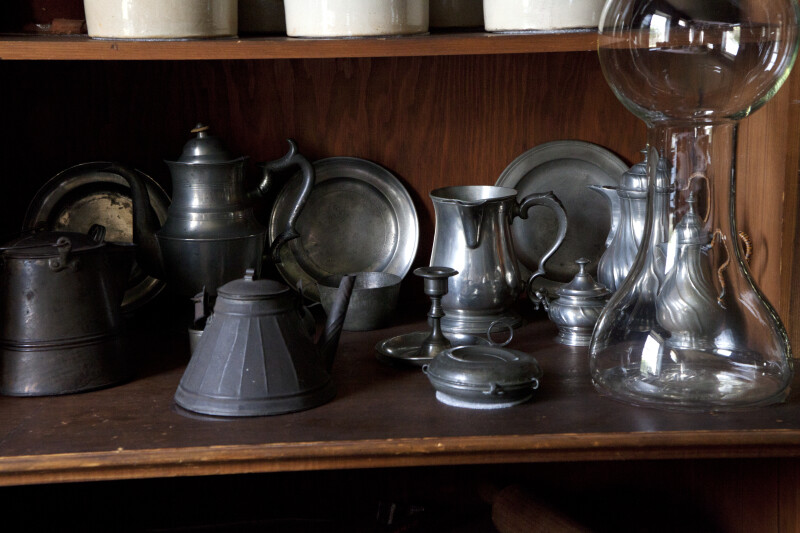 Metal Teapots, Plates, Bowls, and Candlesticks