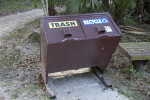 Metal Trash and Recycling Receptacle Along the Fort Caroline Nature Trail