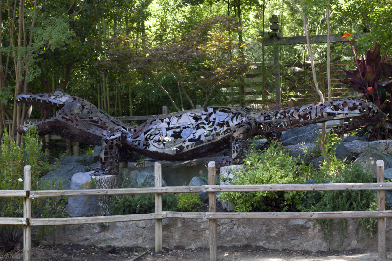 Metal Tyrannosaurus rex at the Sacramento Zoo