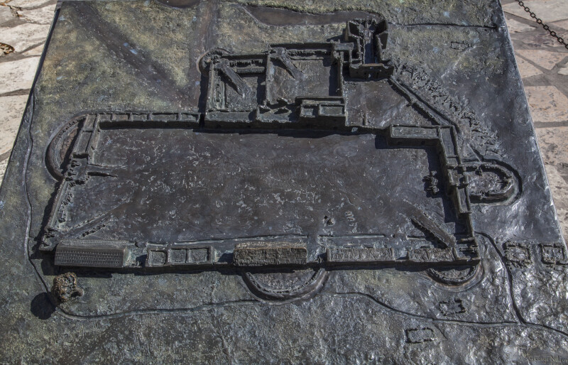 Metallic Model of the Alamo Mission in San Antonio, Texas