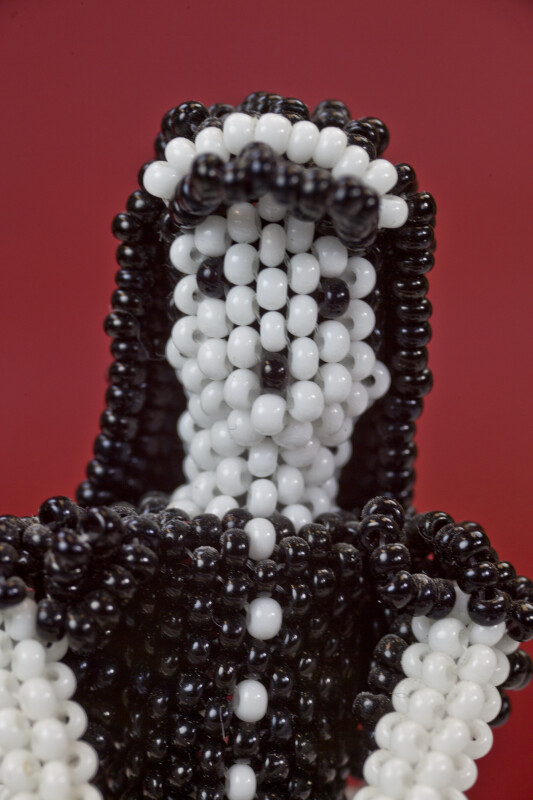 Mexico Beaded Face of Doll with Black Hair (Close Up)
