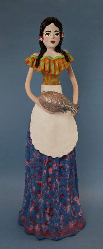 Mexico Ceramic Lady with Fiesta Blouse and Long Skirt (Full View)