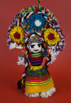Mexico Female Doll Made with Yarn Wearing a Bright Woven Dress (Full View)