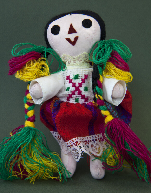 Mexico Female Doll with Cross-stitch on Bodice of Dress and Yarn Braids (Full Standing View)