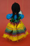 Mexico Handcrafted Marionette with Long Black Braids and Striped Skirt (Back View)