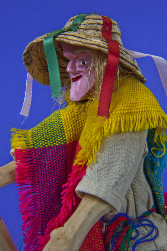 Mexico Male Doll Made from Wood with Walking Stick and Straw Hat (Close Up)