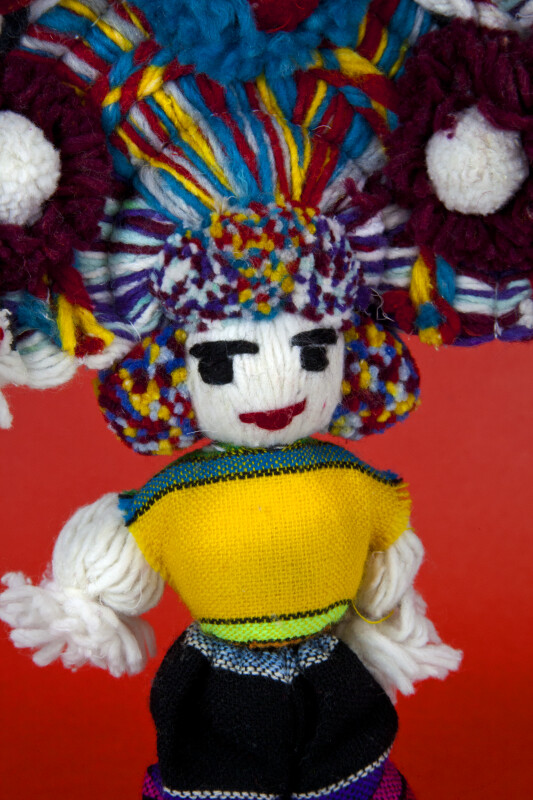 Mexico Male Doll with Yarn Body and Face That is Embroidered with Yarn (Close Up)