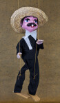 Mexico Male Marionette with Three String Wearing a Straw Hat (Full View)