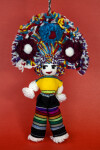 Mexico Male Yarn Doll with Bright Pon Poms on Headdress Male (Full View)