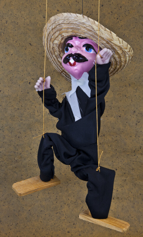 Mexico Man on Strings with Mustache and Straw Haw (Three Quarter View)