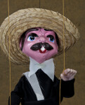 Mexico Marionette with Papier Mache Head, Mustache, and Straw Hat (Close Up)