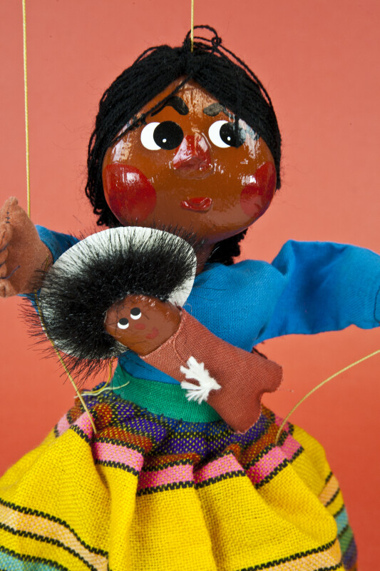 Mexico Mother with Baby Marionette with Stuffed Cloth Body and Paper Mache Head (Close Up)