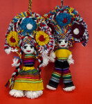 Mexico Pair of Dolls Made from Yarn with Large Headdresses of Yarn Pom-poms (Full View)