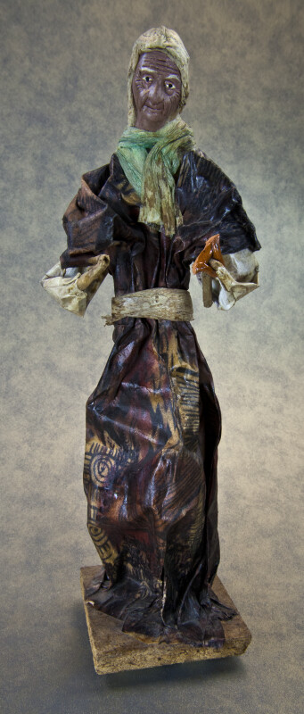 Mexico Paper Mache Woman Figure with Detailed Face Wrinkles (Full View)