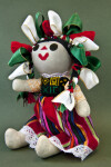 Mexico Stuffed Doll with Red Green and White Ribbons in Her Hair (Three Quarter View)