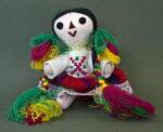 Mexico Stuffed, Jointed Doll with Colorful Yarn Braids (Sitting View)