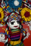 Mexico Yarn Doll with Embroidered Facial Features and Braids (Close Up)