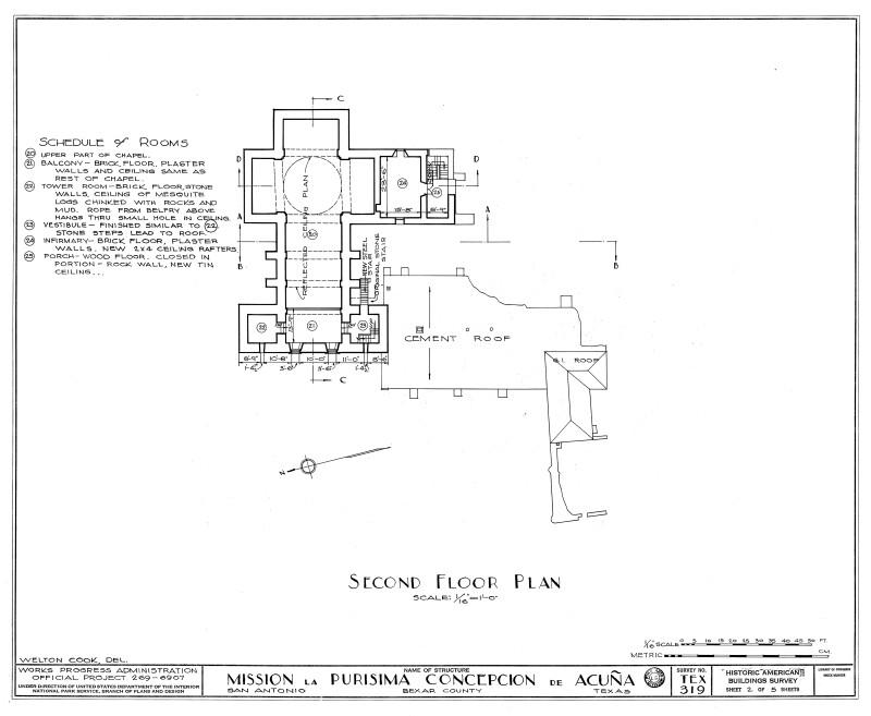 Mission Concepción Second Floor Plan