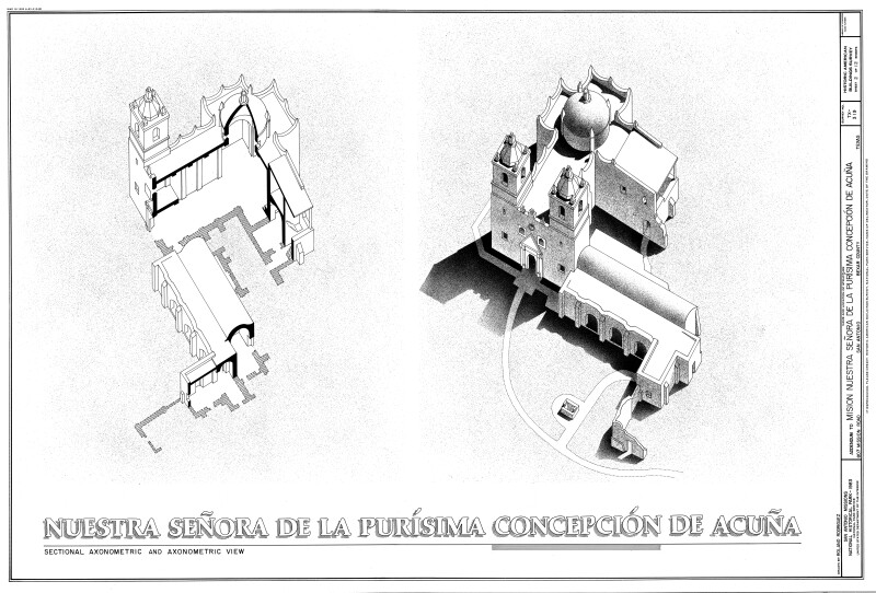 Mission Concepción Sectional Axonometric and Axonometric View Drawings