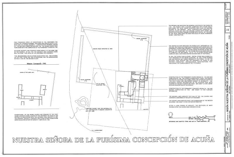 Mission Concepción Site Plan Showing Location of Former Buildings