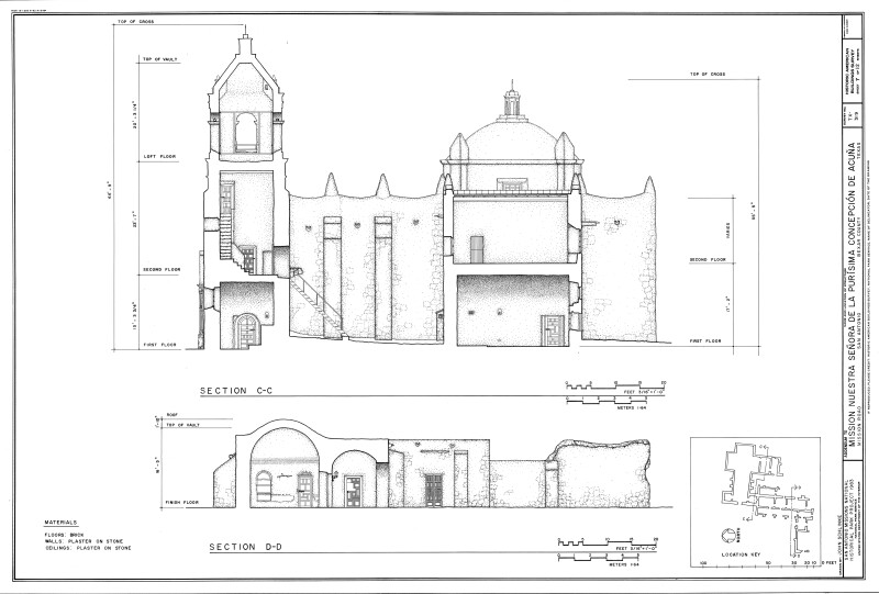 Mission Concepción: Two East-West Section Drawings