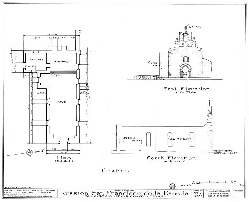 Mission Espada Chapel Plan and Elevation Drawings 1937
