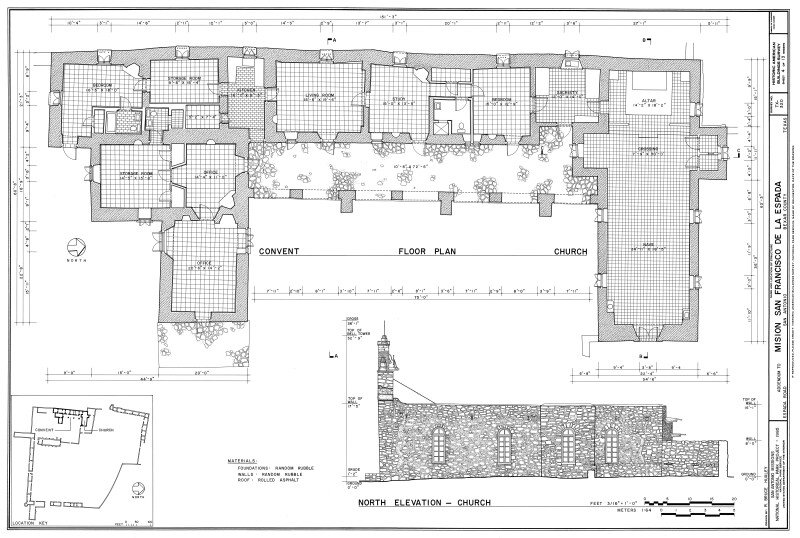 Mission Espada Convento and Church Floor Plan