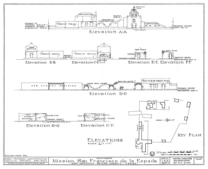 Mission Espada Elevation Drawings 1937