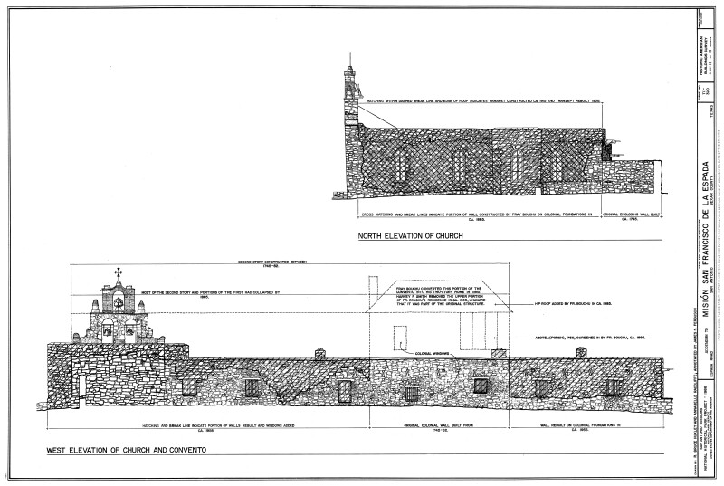 Mission Espada North and West Elevation Drawings