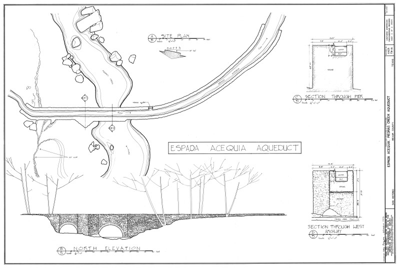 Mission Espada Plan and Elevation of Aqueduct