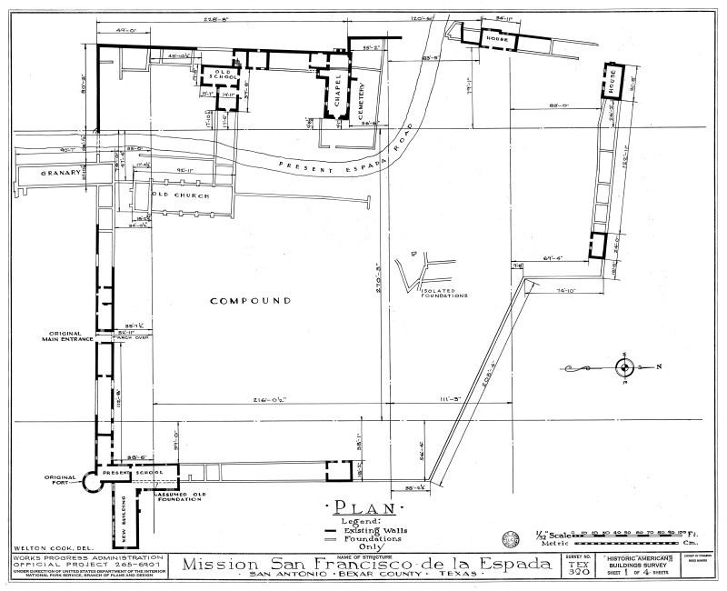 Mission Espada Site Plan 1937