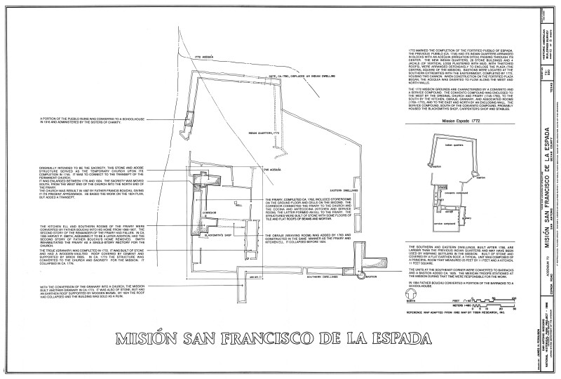 Mission Espada Site Plan with Historic Notes