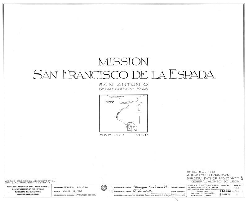 Mission Espada Sketch Map