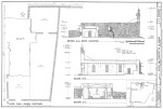 Mission Espada South Elevation and Section Drawings