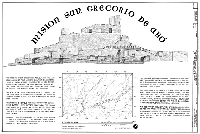 Mission of San Gregoiro de Abó Cover Sheet and Locator Map