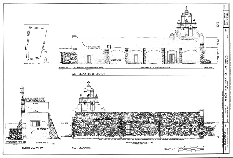 Mission San Juan de Capistrano Chapel Elevations