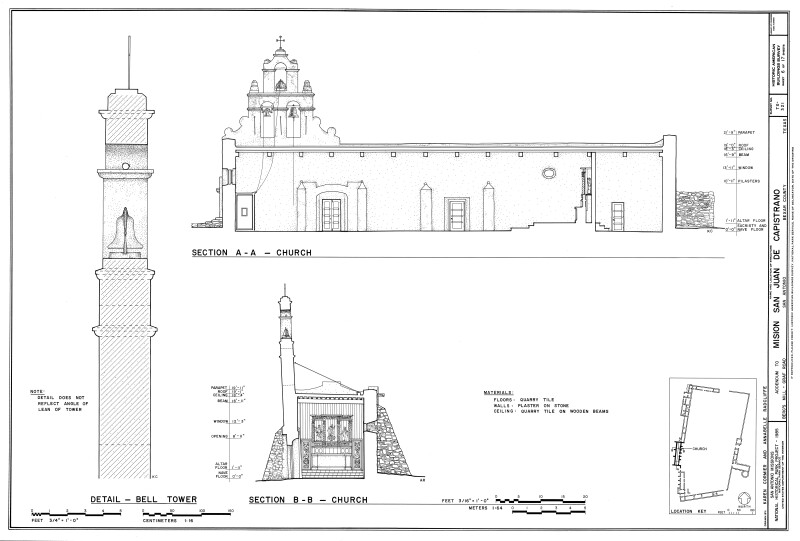 Mission San Juan de Capistrano Church Section Drawings
