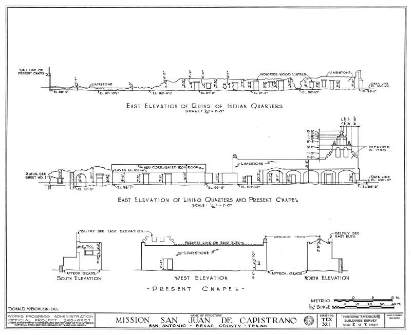 Mission San Juan de Capistrano Elevation Views from 1937