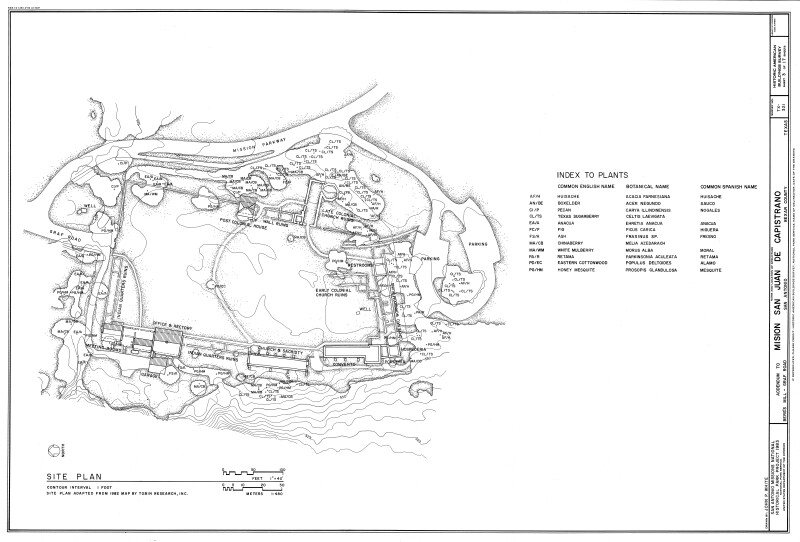 Mission San Juan de Capistrano Site Plan with Plantings Indicated
