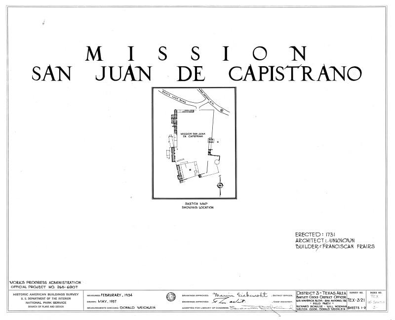 Mission San Juan de Capistrano Sketch Map