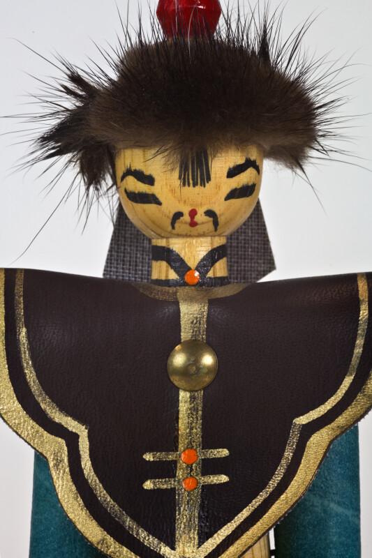 Mongolia Hand Made Doll of Man with Hand Painted Face and Pointed Hat (Close Up)