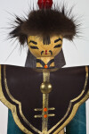 Mongolia Hand Made Figure of Man with Hand Painted Face and Pointed Hat (Close Up)