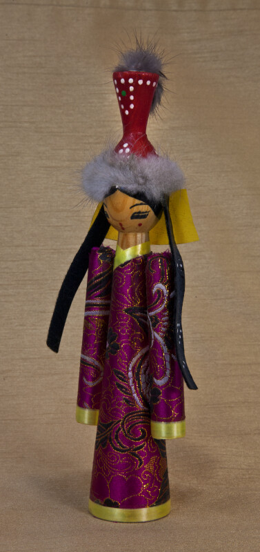 Mongolia Handcrafted Female Doll in Traditional Garments (Three Quarter View)