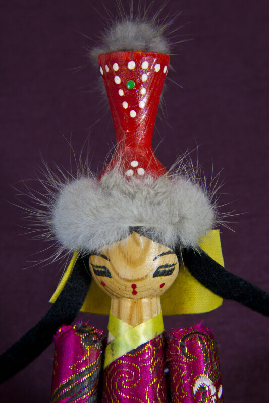 Mongolia Lady Doll with Large Wood Head Piece with Fur Trim and Hand Painted Face (Close Up)