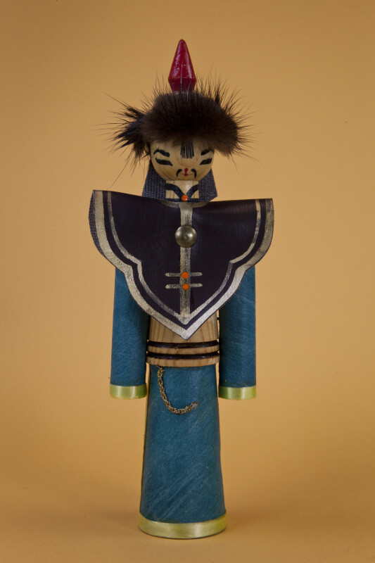 Mongolia Male Doll Made from Wood with Pointed Hat (Full View)