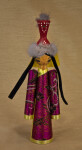 Mongolia Doll Made from Wood and Decorated with Brocade Cloth (Full View)