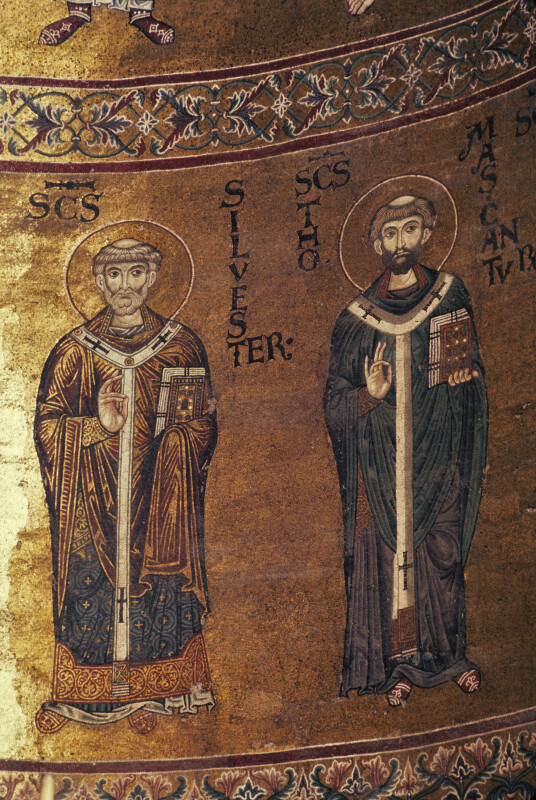 Monreale cathedral, apse mosaics, St. Silvester and St. Thomas Becket of Canterbury