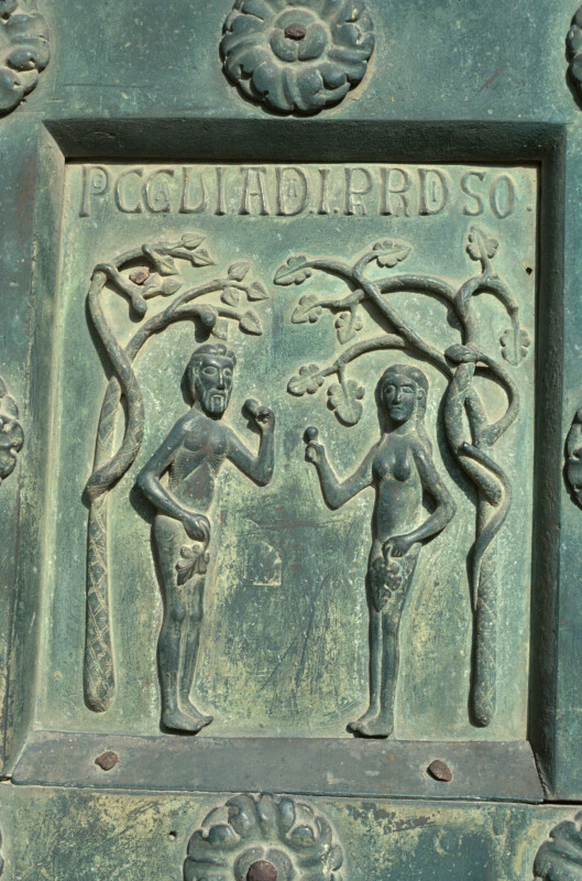 Monreale cathedral, bronze doors of Bonannus of Pisa, Adam and Eve sin in Paradise